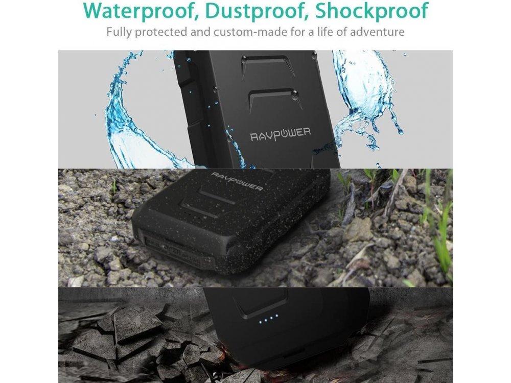 RAVPower Xtreme 10050 Power Bank Rugged & Waterproof 10.050mAh, Μαύρο - RP-PB044