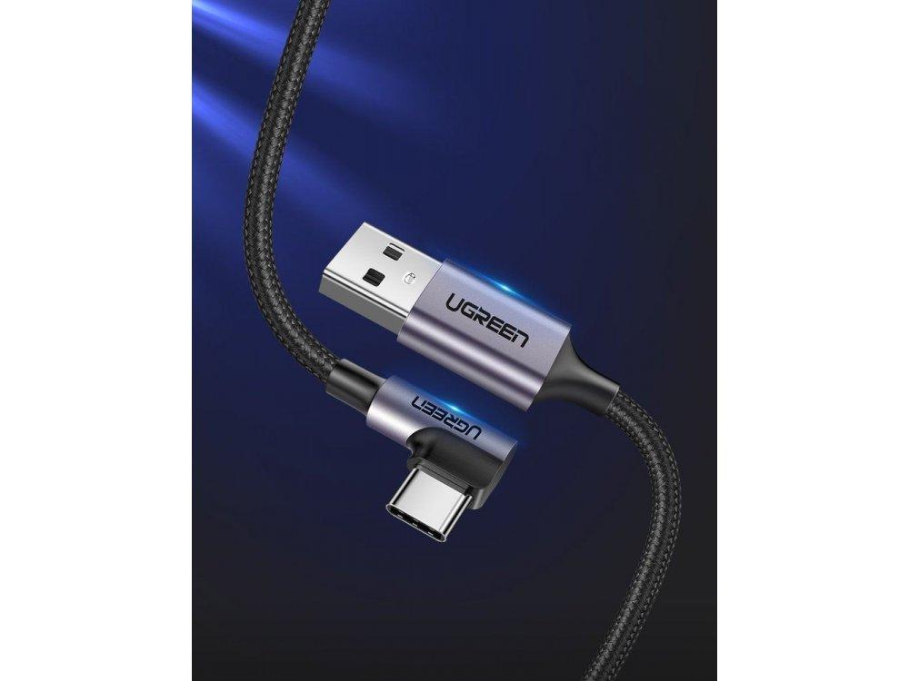 Ugreen Γωνιακό 90° USB-C καλώδιο 2μ. Με Νάυλον ύφανση, Μαύρο - 50942