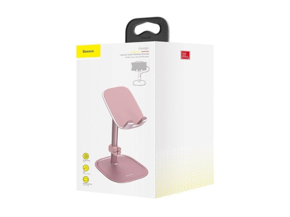 Baseus Literary Youth Desktop Bracket Holder, Βάση / Stand τοποθέτησης Κινητού/Tablet, Ροζ - SUWY-0R
