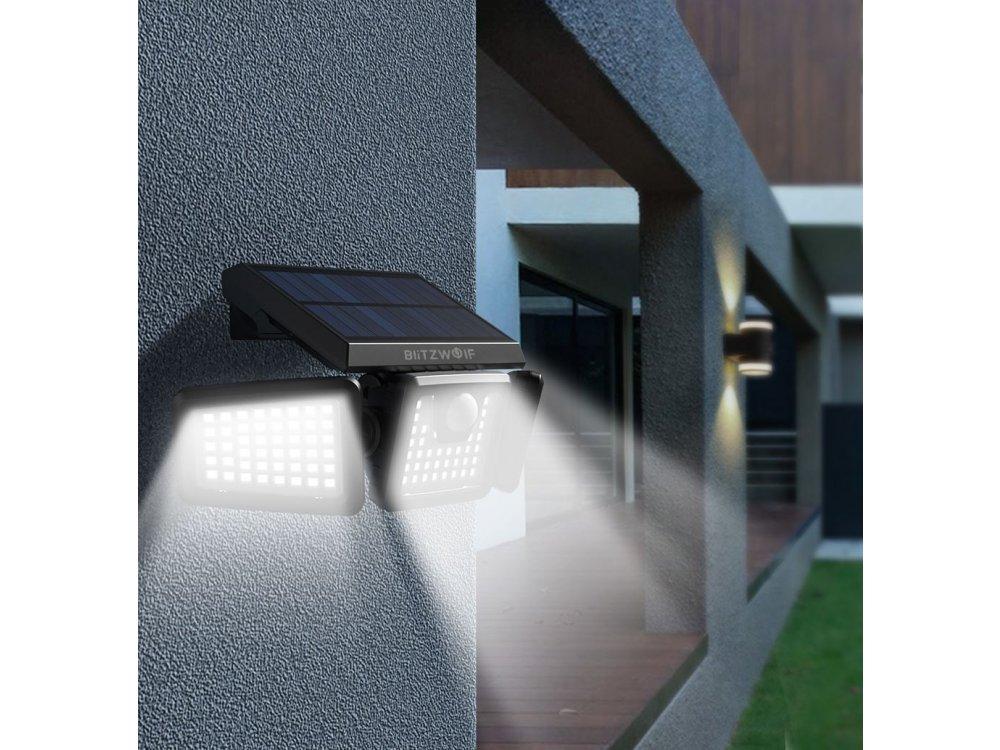 BlitzWolf BW-OLT4 Solar Wall Light, Τριπλός Ηλιακός Προβολέας Τοίχου, Σπαστός, Με ανιχνευτή κίνησης και φωτός