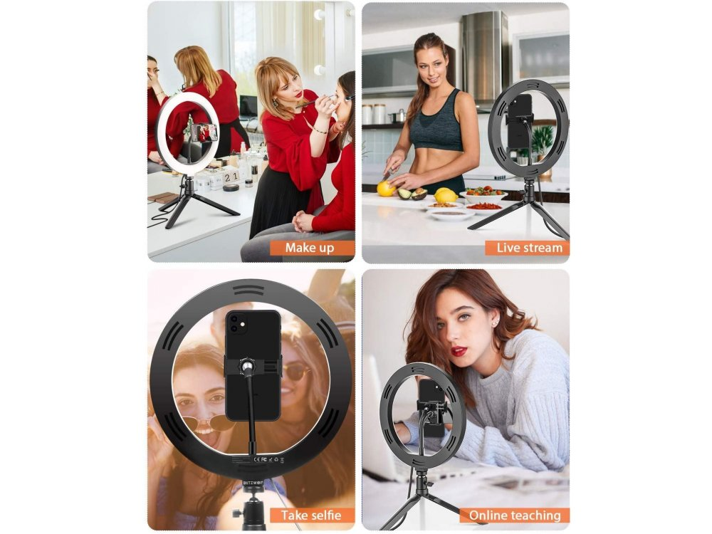 """BlitzWolf BW-SL5 LED Ring Light 10.2"""" RGB Dimmable Temperature 2300K-6000K & Adjustable 10 Color + Tripod + Bluetooth Remote"""