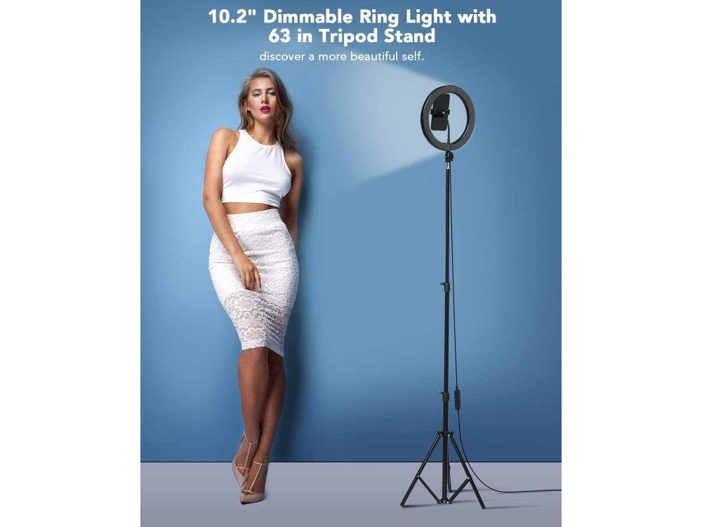 "BlitzWolf BW-SL2 LED Ring Light 10.2"" - 26cm Dimmable & 2300K-6000K Adjustable Color Temperature & Tripod"