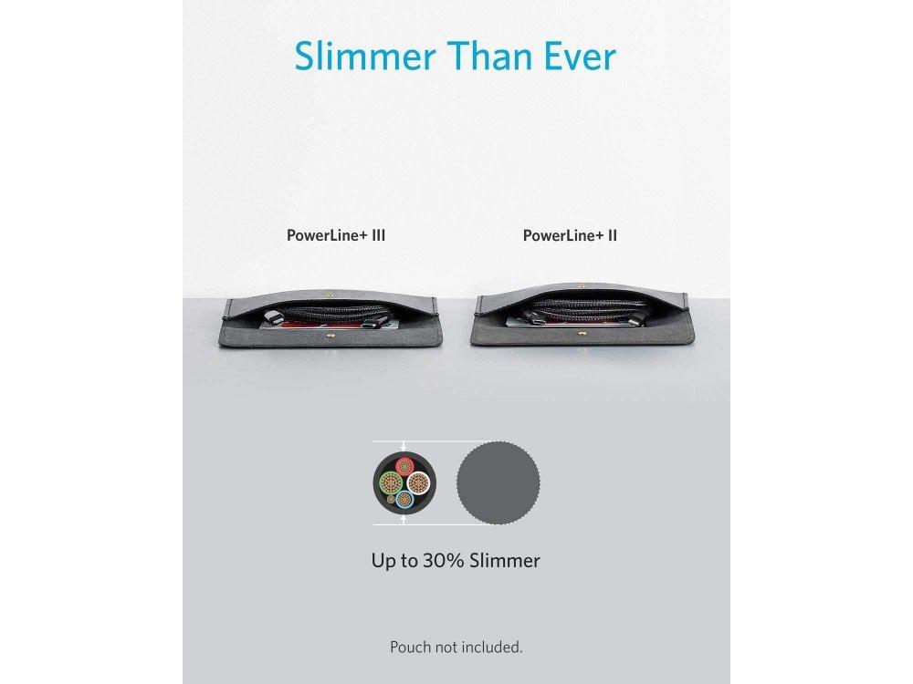 Anker PowerLine+ ΙΙI USB-C σε Lightning καλώδιο 0.9μ. για Apple iPhone / iPad / iPod MFi, με Νάυλον ύφανση - A8842011, Μαύρο