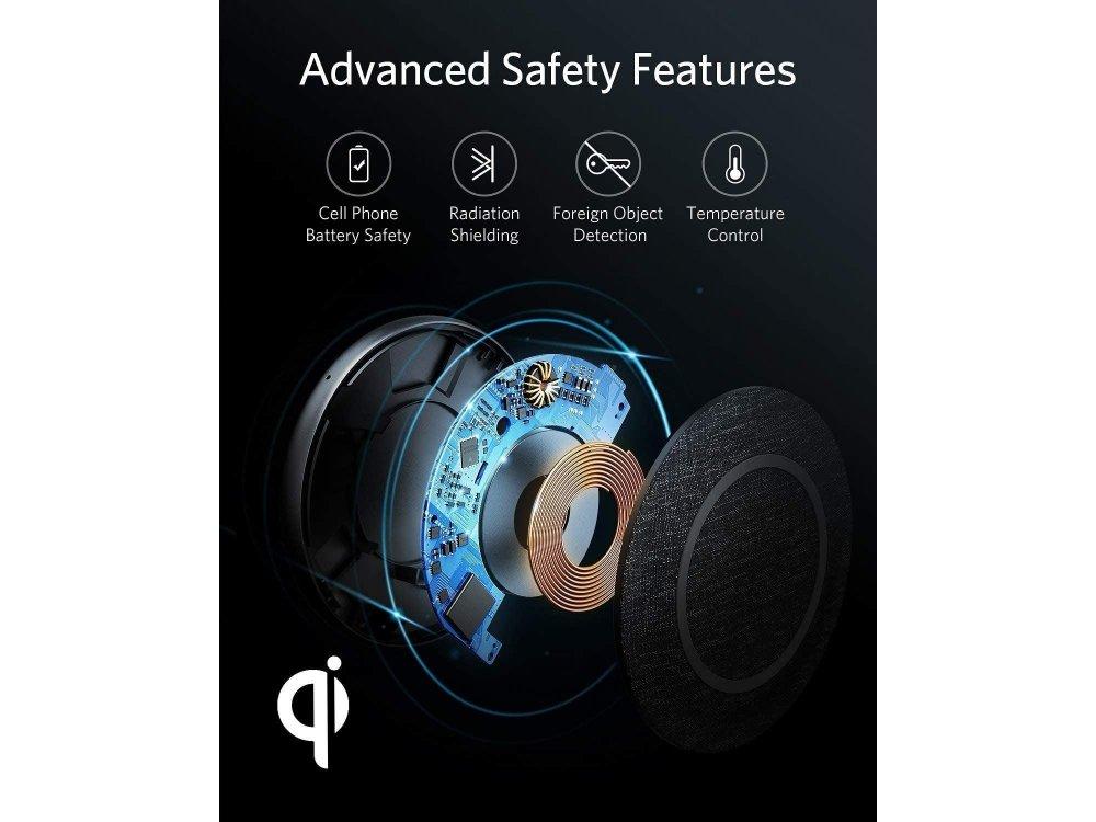 Anker PowerWave 2 Sense Qi 7.5/10/11/15W Ασύρματος φορτιστής Σετ με φορτιστή & καλώδιο - B2519GF1, Μαύρο