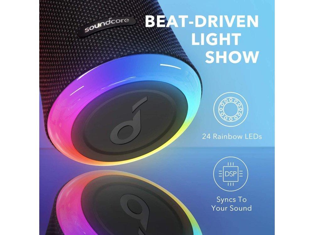 Anker Soundcore Flare 2, Portable Waterproof Bluetooth 5.0 Speaker 20W - A3165G11, Black