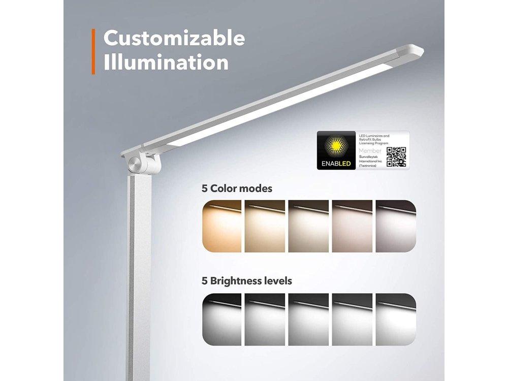 TaoTronics TT-DL19 LED Desk Lamp with Touch Control & USB port, 5 Color Modes, 5 Brightness Levels, Silver