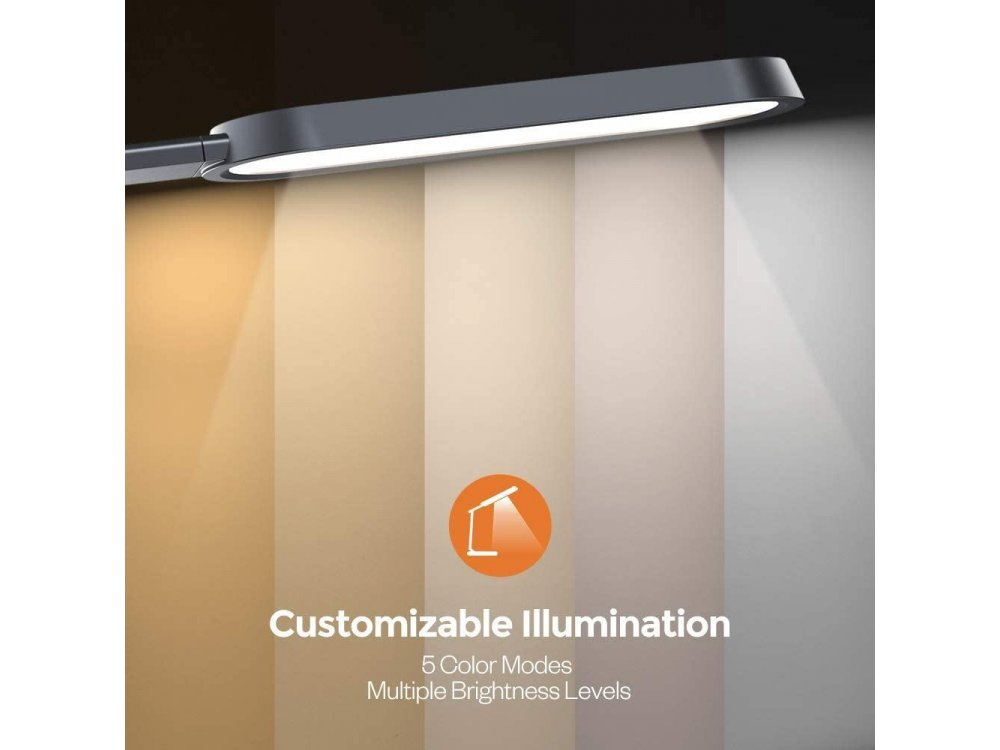 TaoTronics TT-DL056 LED Desk Λάμπα με Touch Control & USB Θύρα, 5  Color Modes, 6 Brightness Levels, Timer, Night Light, Dark Gr