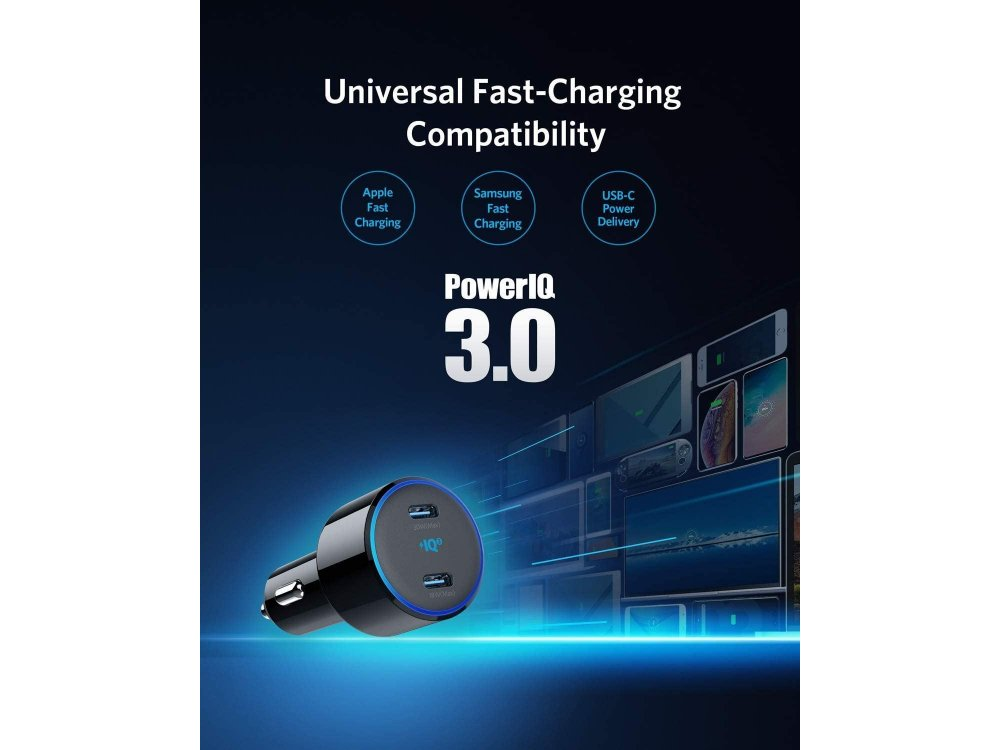 Anker PowerDrive+ III Duo 48W 2-Port USB Car Charger with Power Delivery - A2725H11