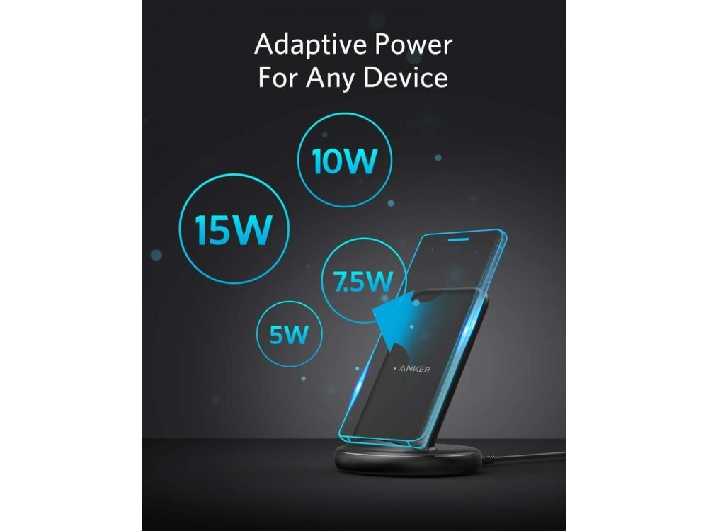 Anker PowerWave Qi 7.5/10/15W Wireless Charger / Stand with Power Adapter - B2529GF1