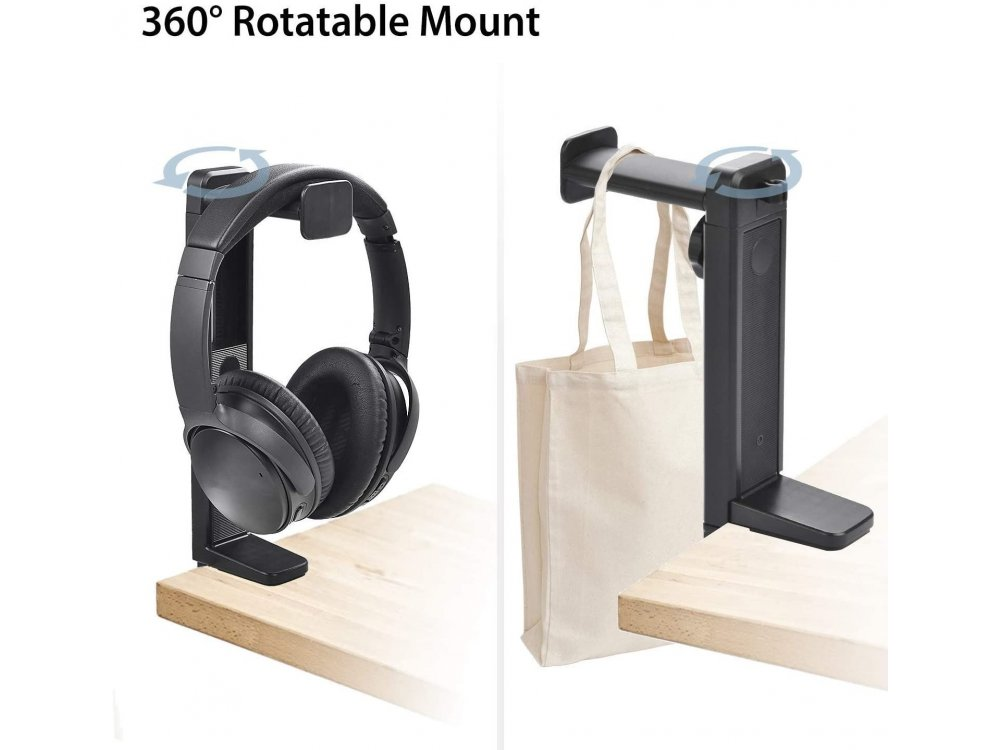 Avantree Neetto Headphone Stand & Hanger 2 in 1, Office Stand with Clamp for Headset / Headphones, Black - HS906