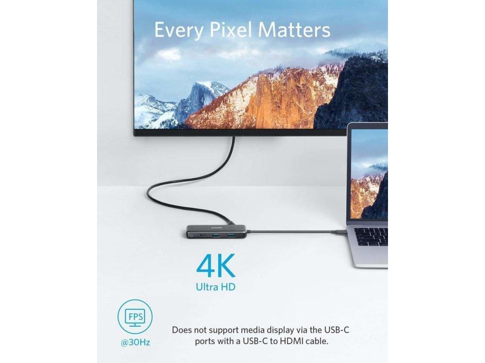 Anker PowerExpand 7-in-1 USB C Data Hub - HDMI/4K + USB3.0*2 + SD/Micro SD Card reader*1 + USB-C + 100W PD Charging*1 - A83460A2