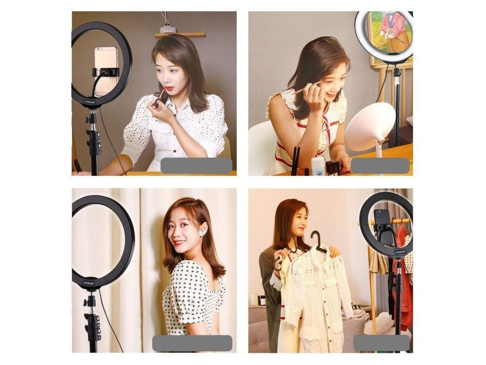 """Puluz RGB LED Ring Light 10.2"""" - 26cm Dimmable & Adjustable Color Temperature & Tripod 110cm Height - PKT3044"""