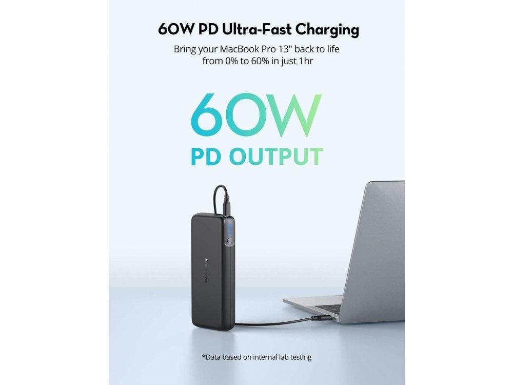 RAVPower Pioneer 20000 PD 60W USB-C Power Bank 20.000mAh Power Delivery, Black - RP-PB201