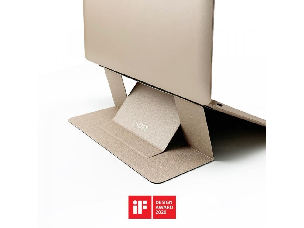 Allocacoc Moft Laptop Anti-Slip and Portable, Magnetic Folding Slim Stand, Gold - DH0117GY/MOFTST