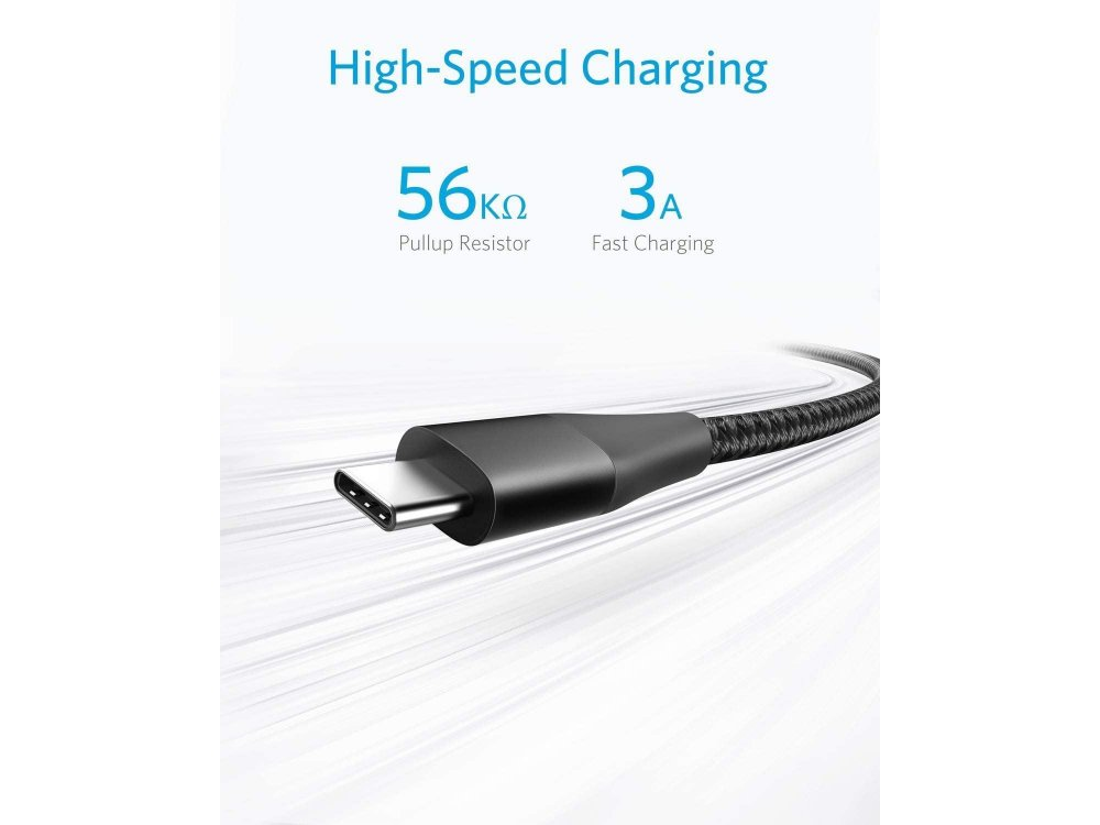 Anker Powerline+ II USB-C cable 6ft. nylon braided - A8463091, Black
