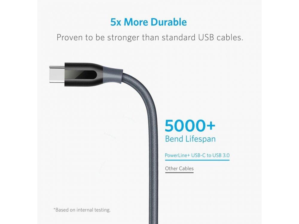 Anker PowerLine+ USB-C σε USB 3.0 καλώδιο 1,8μ. Με Νάυλον ύφανση, Μαύρο - B81690A2, Σετ των 2