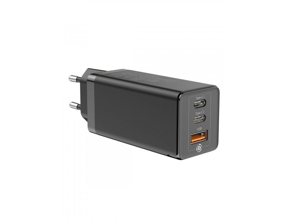 Baseus Speed Wall charger 65W 3 Ports with Power Delivery, PPSD & QC4.0, GaN, Black - CCGAN-B01