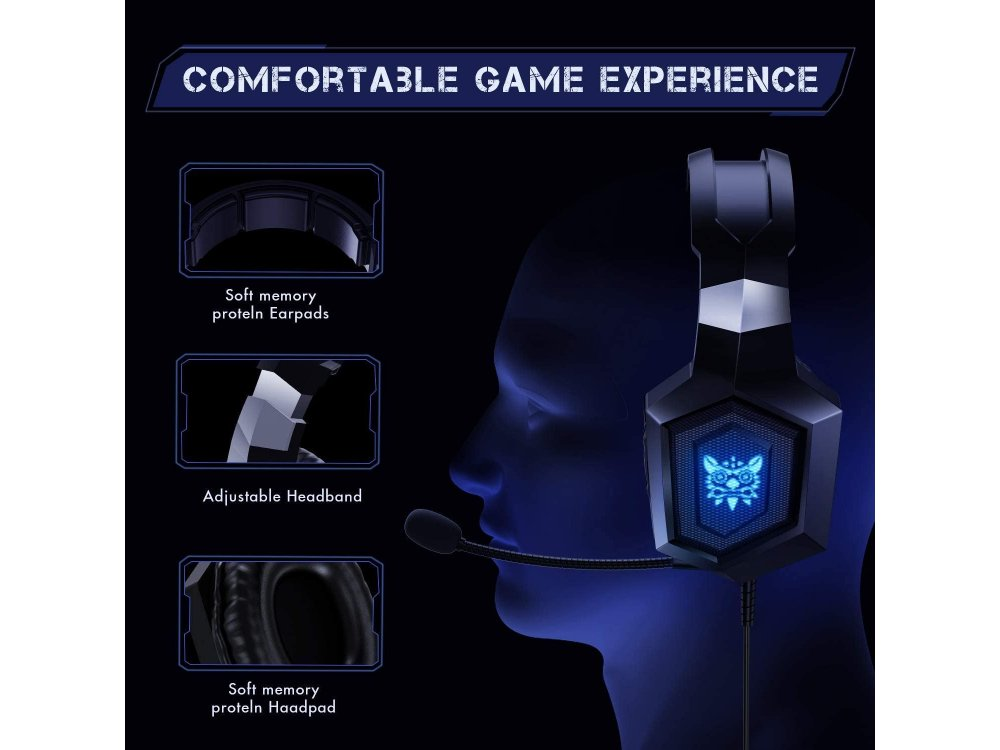 Onikuma K8 RGB LED Gaming Headset 7.1, Black, Noise-cancelling Microphone (PC / PS4 / Xbox / Switch / Mac / iOS)