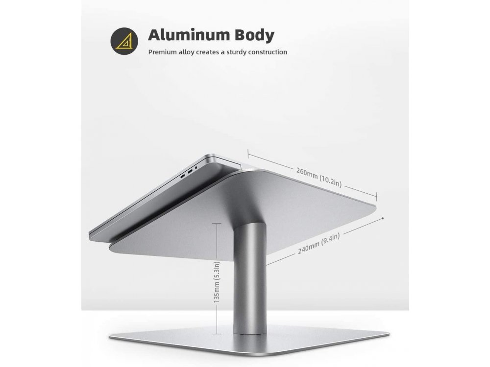 """Lamicall L Laptop Stand with rotating base for Laptop / Macbook 10-17.3"""", Silver"""