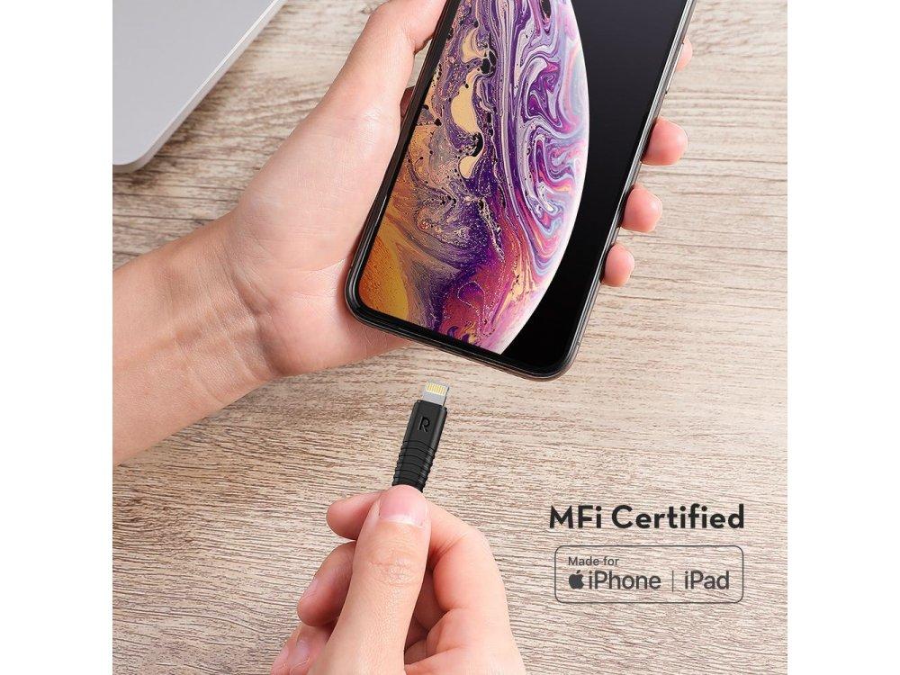 RAVPower RP-CB020 USB-C σε Lightning καλώδιο 1μ για Apple iPhone / iPad / iPod MFi, με Νάυλον ύφανση, Μαύρο