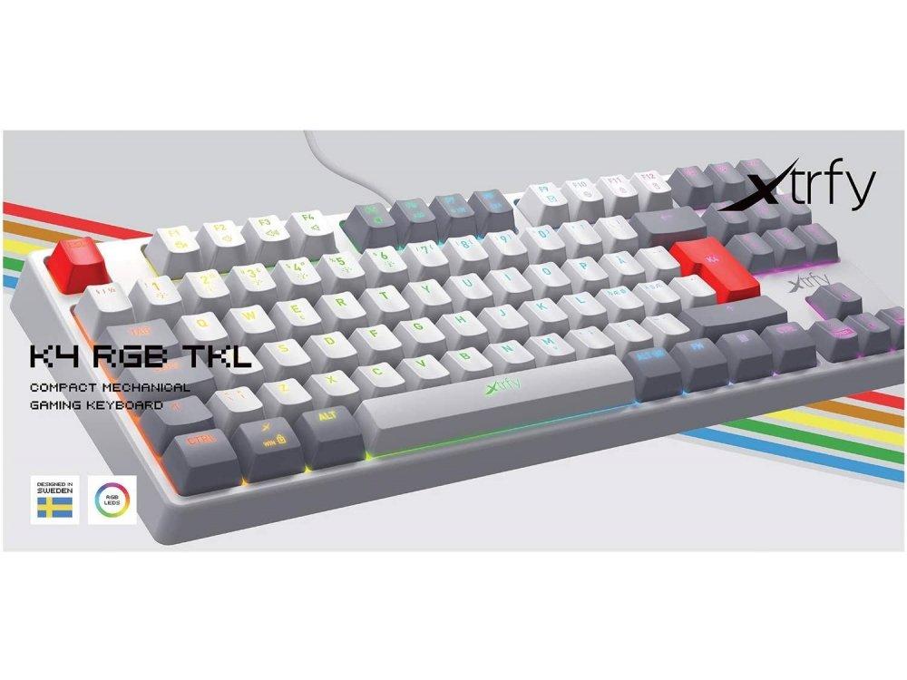 Xtrfy K4 TKL RGB Gaming Mechanical Keyboard Tenkeyless Kailh Red Switches, Retro - XG-K4-RGB-TKL-RETRO-R-UK