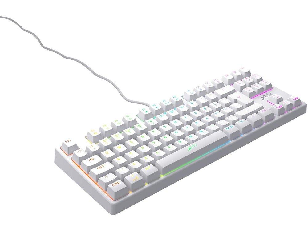 Xtrfy K4 TKL RGB Gaming Mechanical Keyboard Tenkeyless Kailh Red Switches, White - XG-K4-RGB-TKL-WH-R-UK