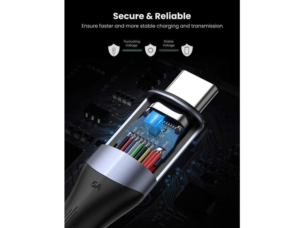Ugreen Καλώδιο USB-C σε USB-C 3.1 1μ. με Νάυλον ύφανση, Μαύρο - 80150