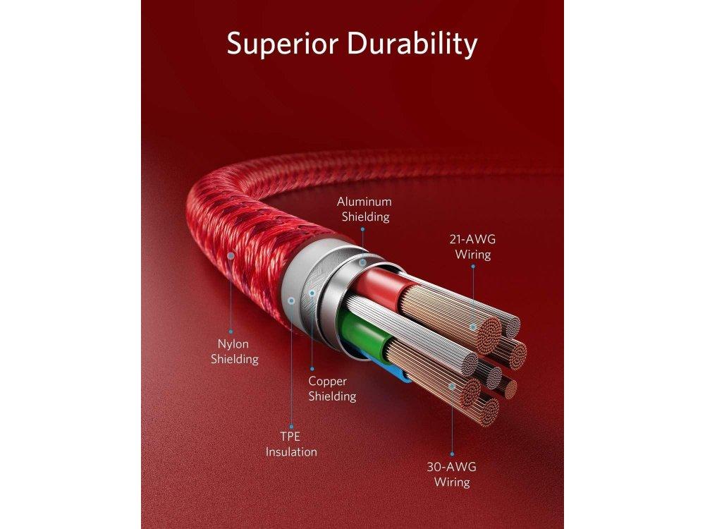 Anker PowerLine+ ΙΙ USB-C σε Lightning καλώδιο 1.8μ. για Apple iPhone / iPad / iPod MFi, με Νάυλον ύφανση - A8653H91, Κόκκινο