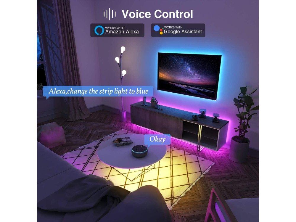 NiteBird SL1 Smart RGB LED Ταινία 2.8m. 16 Χρωματισμοί (Static & Rainbow), Wi-FI, συμβατή με Alexa, Google