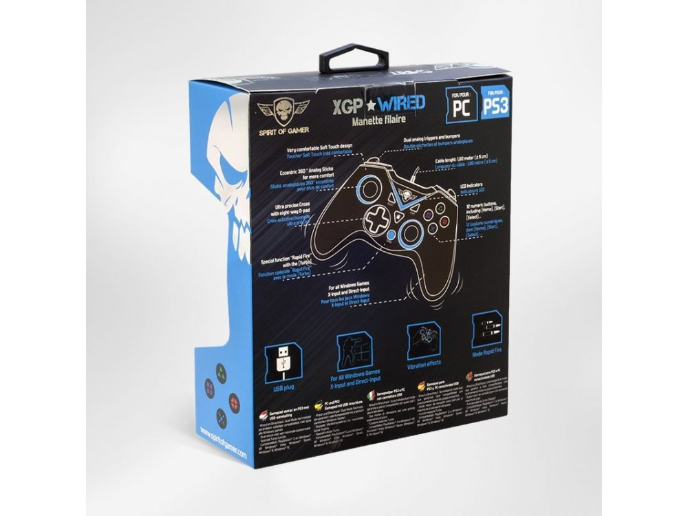Spirit Of Gamer Xtrem XGP gamepad with cable for Windows/PS3, Blue - SOG-WXGP