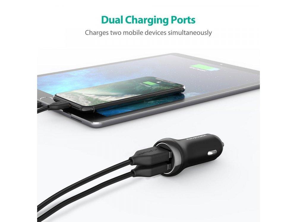 RAVPower 30W QC3.0 2-Port USB Φορτιστής Αυτοκινήτου - RP-PC088