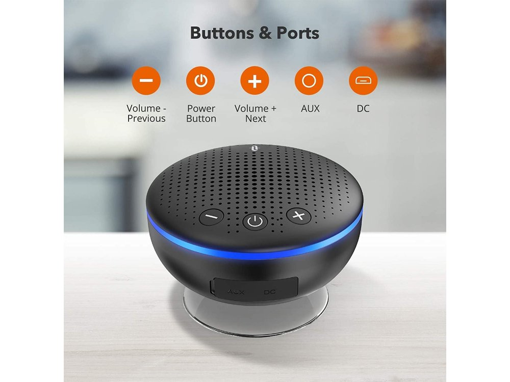 TaoTronics TT-SK021 Shower Speaker, Portable Bluetooth Speaker