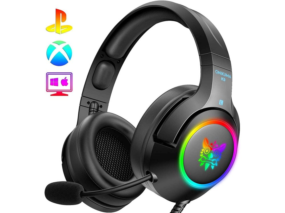 Onikuma K9 RGB Gaming Headset 7.1 Noise-cancelling Microphone (PC / PS4 / Xbox / Switch / Mac / iOS)