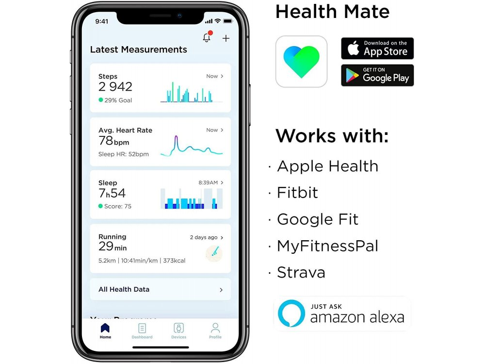 Withings Steel HR Sport Hybrid Smartwatch 40mm, Activity Fitness Heart Rate Sleep Monitor, GPS, Αδιάβροχο 50μ. Λευκό
