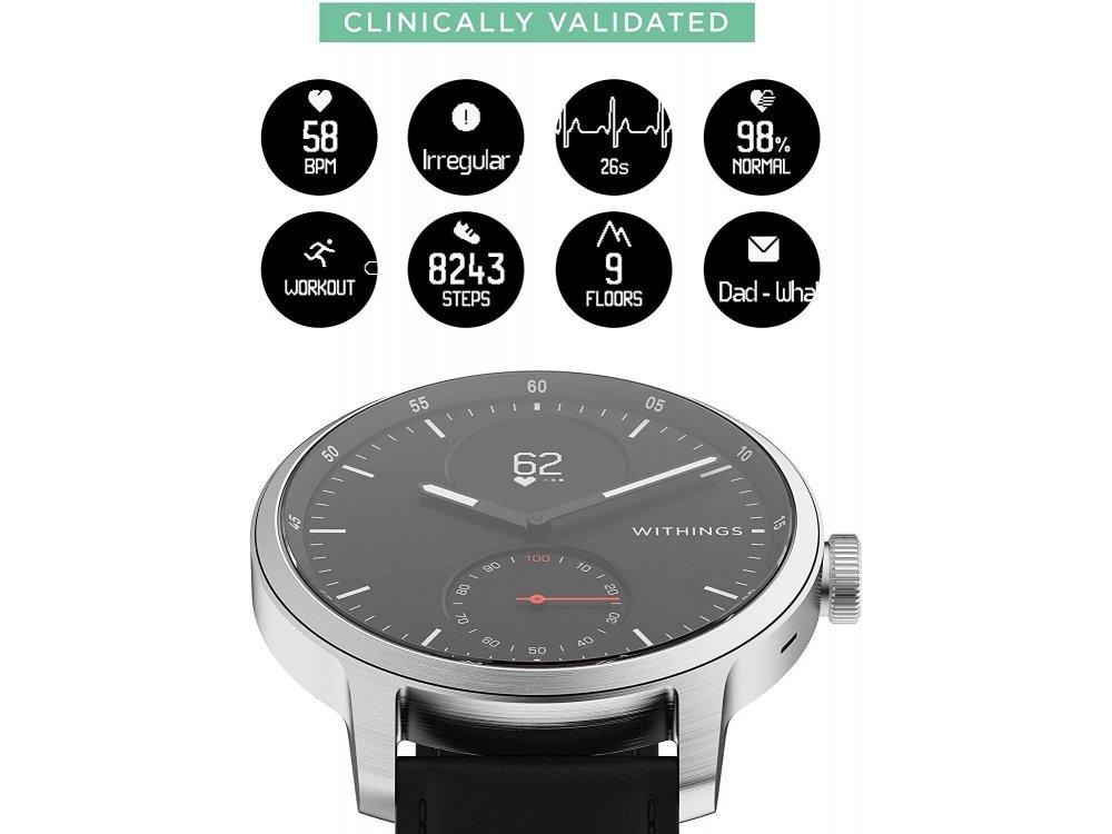Withings ScanWatch Hybrid Smartwatch 42mm, Activity Fitness Heart Rate Sleep Monitor, GPS, ECG & Oximeter, Waterproof 50m. Black