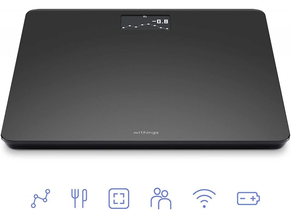 Withings Body, Έξυπνη ζυγαριά, Δείκτης Μάζας Σώματος με Fitness APP μέσω Bluetooth & WiFi, Μαύρη - WBS06-BLK