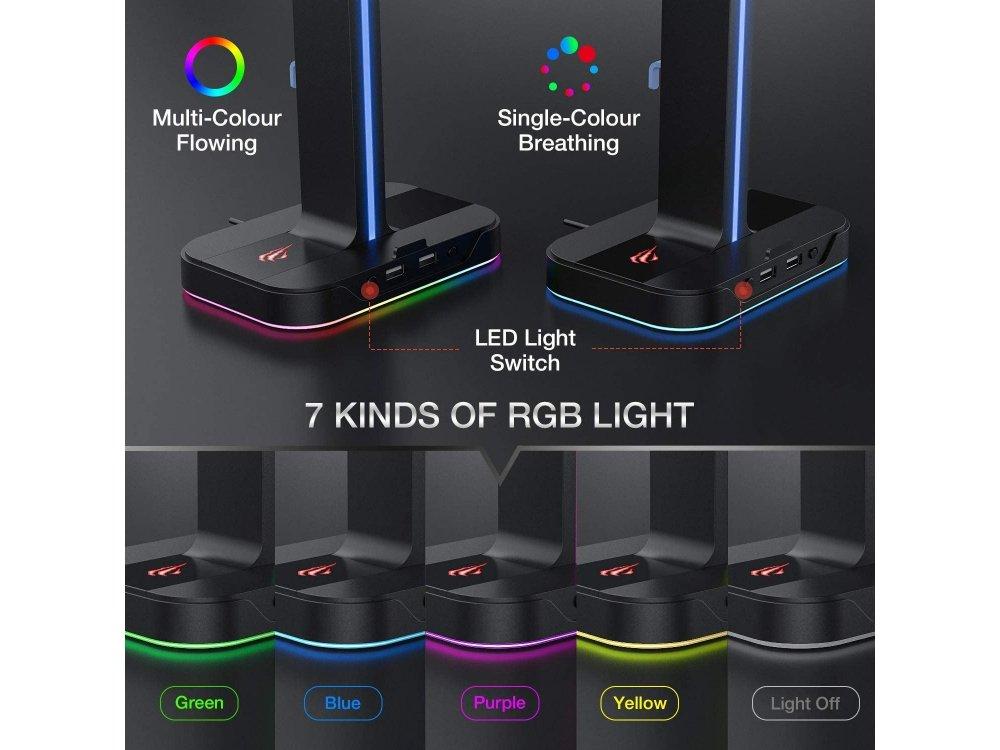Havit Dual Headphone Aluminum Stand & Hanger RGB for Headset  with 2 USB Ports, Black - TH650