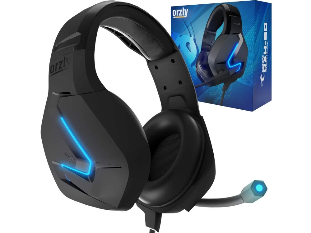 Orzly Hornet RXH-20 LED Gaming Headset Noise-cancelling Microphone (PC / PS4 / PS5 / Xbox / Switch / Mac), Abyss Edition