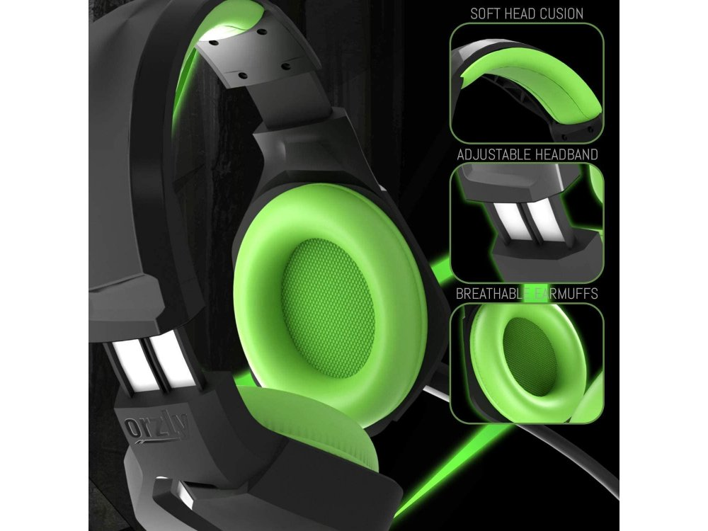Orzly Hornet RXH-20 LED Gaming Headset Noise-cancelling Microphone (PC / PS5 / Xbox / Switch / Mac), Sagano Edition