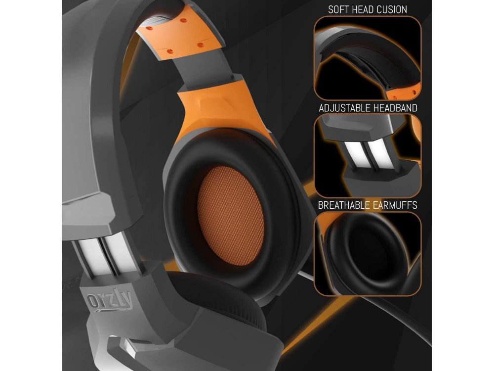 Orzly Hornet RXH-20 LED Gaming Headset Noise-cancelling Microphone (PC / PS5 / Xbox / Switch / Mac), Vesuvius Edition