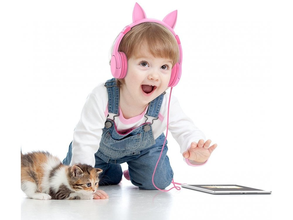 iClever Kids Kitty Headphones, Ενσύρματα ακουστικά για Παιδιά - IC-HS01, Ροζ