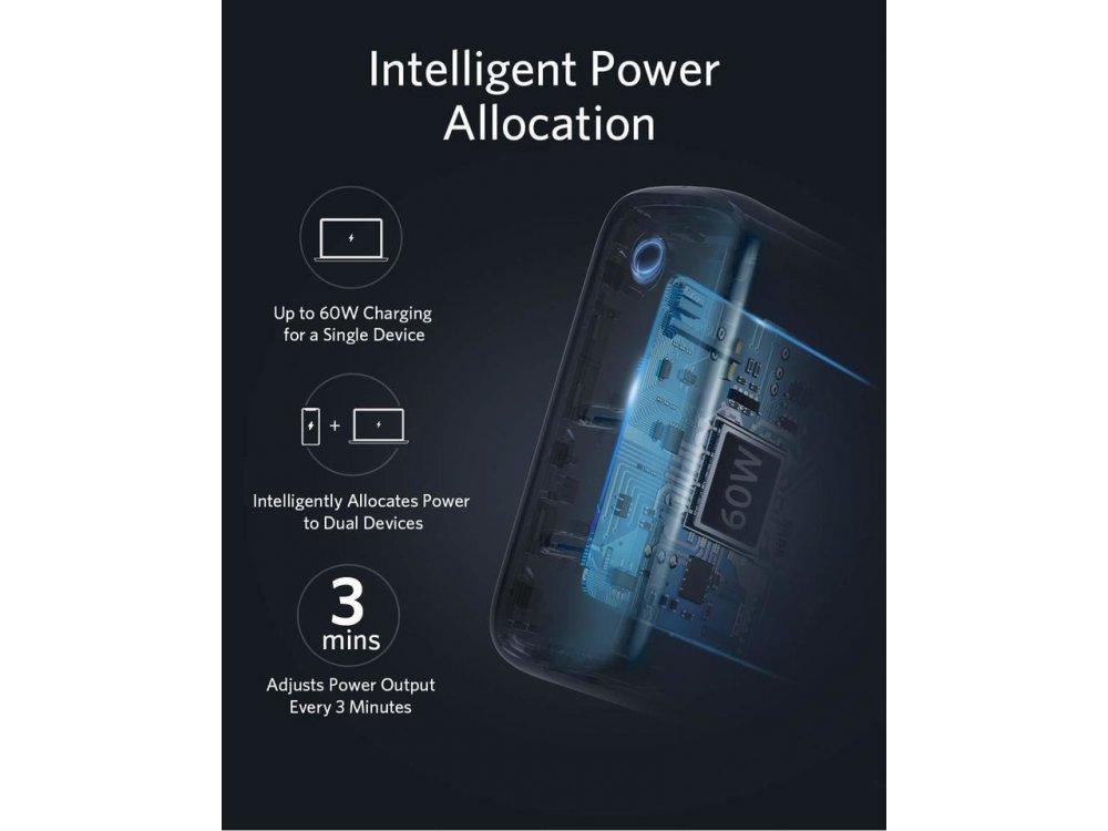 Anker PowerPort III Atom 2-Port Φορτιστής πρίζας 60W με Power Delivery και GaN, Λευκός - A2629H21
