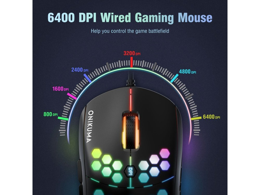 Onikuma CW903 RGB Optical Programmable Gaming Mouse, Ultralight Honeycomb Mouse, 800-6.400 DPI, 7 Buttons, Black