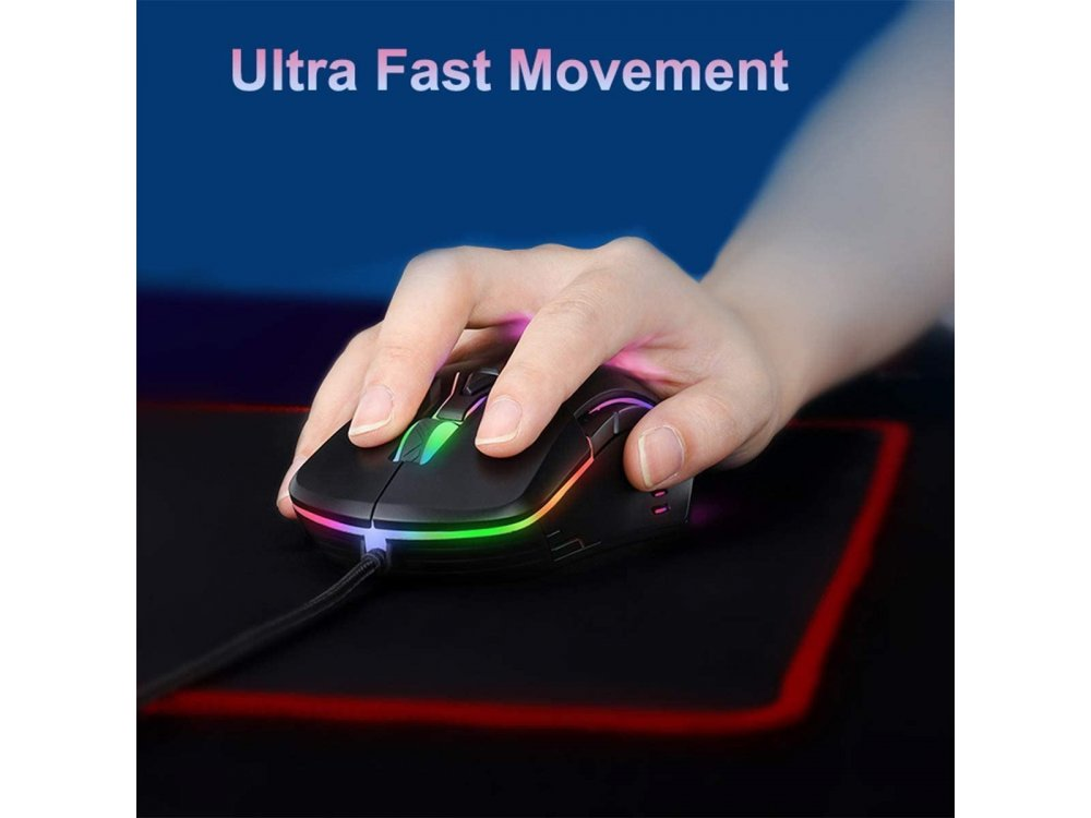 Onikuma CW902 RGB Optical Programmable Gaming Mouse, Ultralight Honeycomb Mouse, 800-6.400 DPI, 7 Buttons, Black