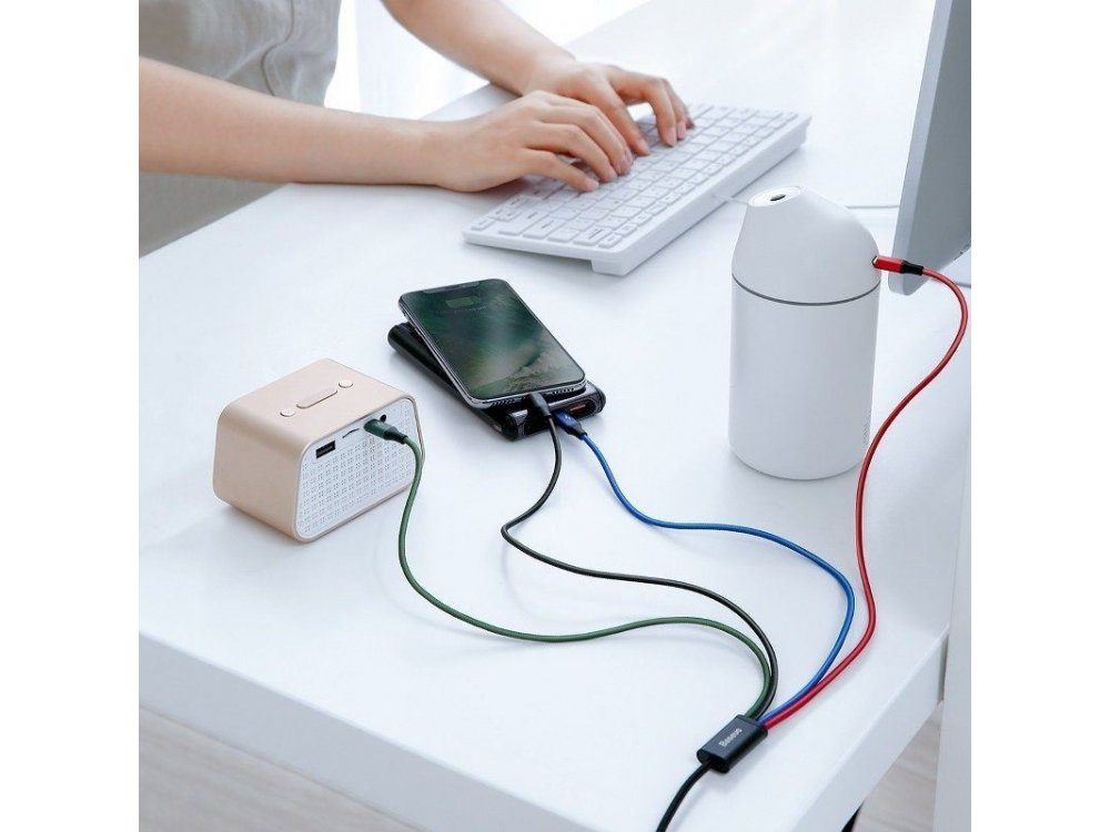 Baseus Fast 4-in-1 Lightning/Type C/2*Micro USB Cable, 1.2m. - CA1T4-C01, Black