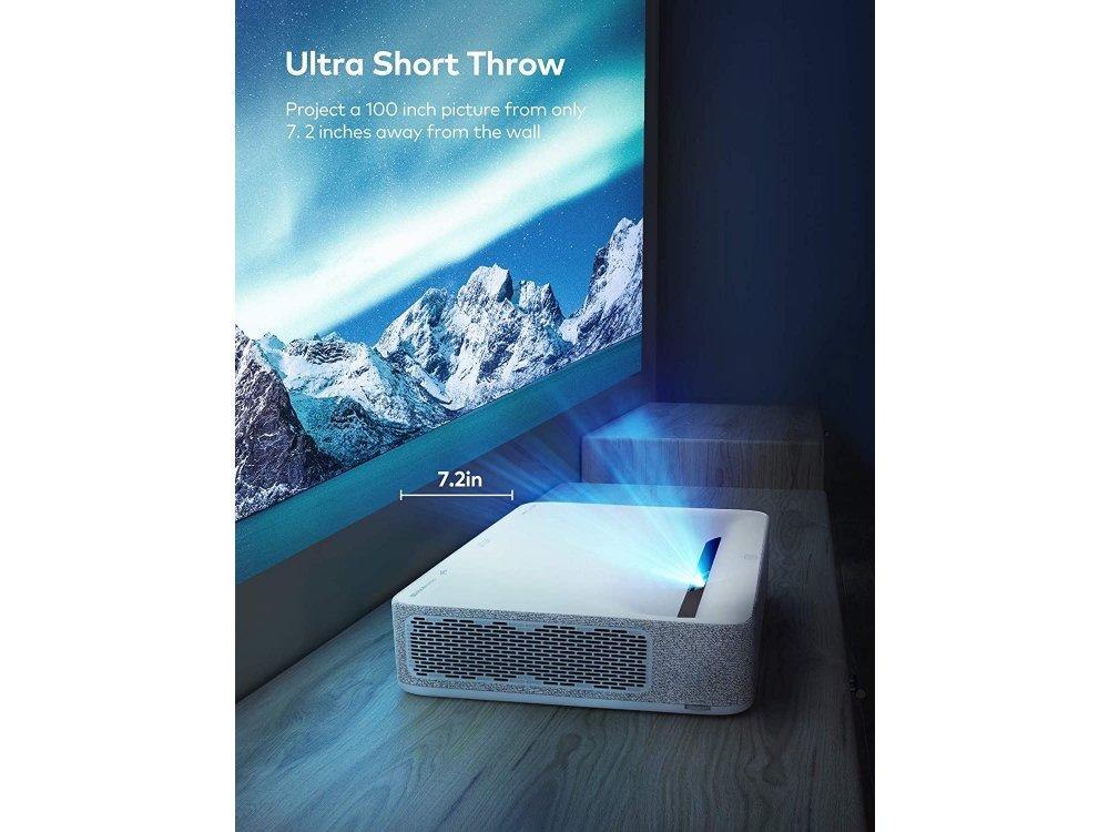 VAVA 4K UST Laser Projector, 2500 ANSI Lumens, HDR10, Harman Kardon Sound Bar 60W, ALPD 3.0, Android - VA-LT002, White