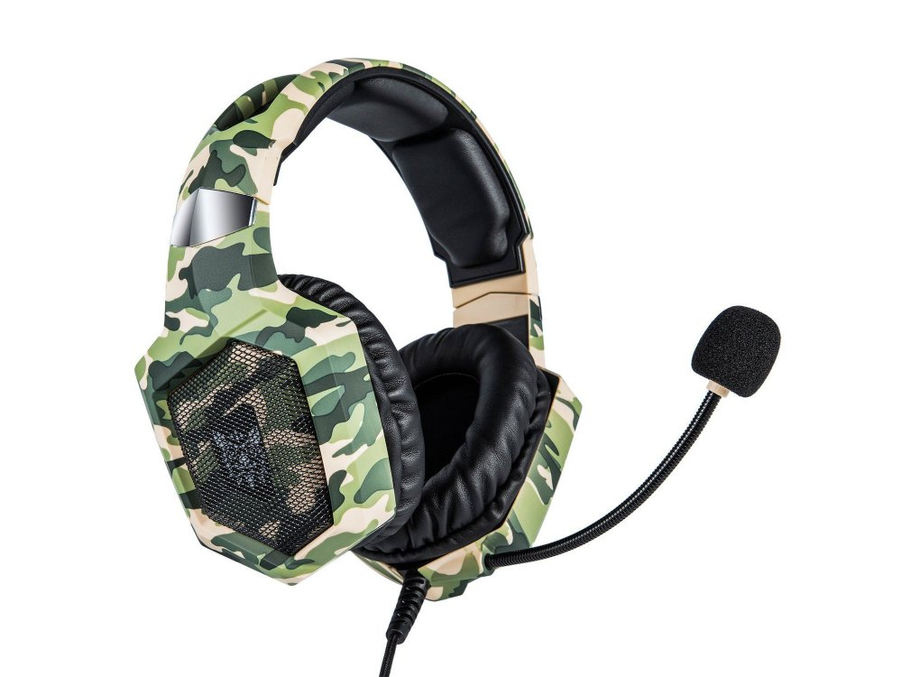 Onikuma K8 Camouflage RGB LED Gaming Headset 7.1  Noise-cancelling Microphone (PC / PS4 / Xbox / Switch / Mac / iOS), Camo Green