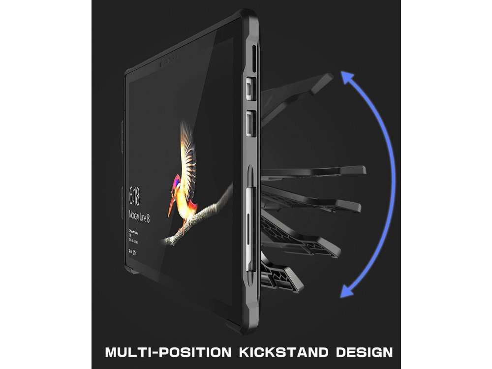 Supcase Microsoft Surface Pro 7 / 5 / 4 / LTE Unicorn Beetle Pro Rugged Full Body Case with Kickstand, Black