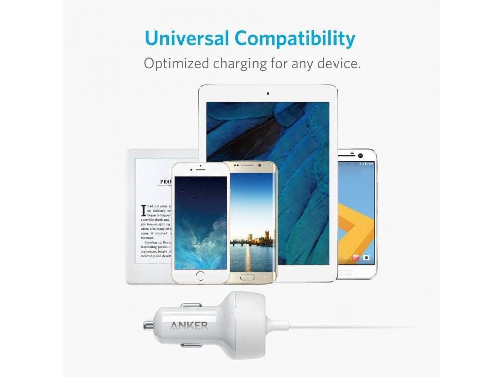 Anker Powerdrive 2 Elite 24W 2-Port USB Car Charger, Lightning connector for Apple iPhone / iPad / iPod MFi - A2214021