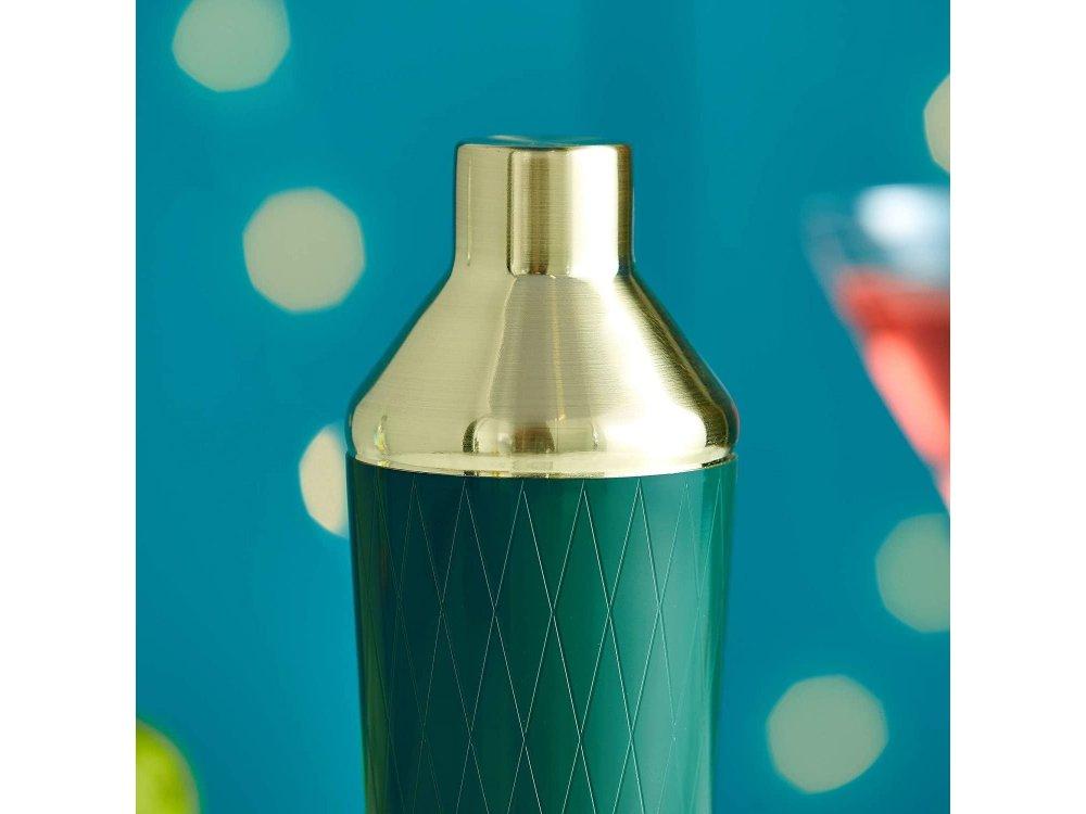 VonShef Cocktail Set 9τμχ., Σετ για Κοκτέιλ από Ανοξείδωτο Ατσάλι, Green & Brushed Gold - 1000021